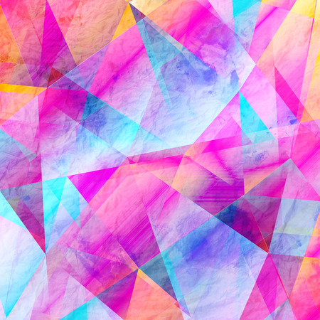 Geometric watercolor background with different polygons Stock Photo