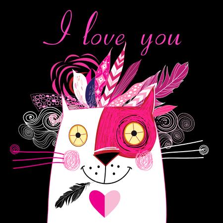 夢中になる猫、明るいホリデー カード。