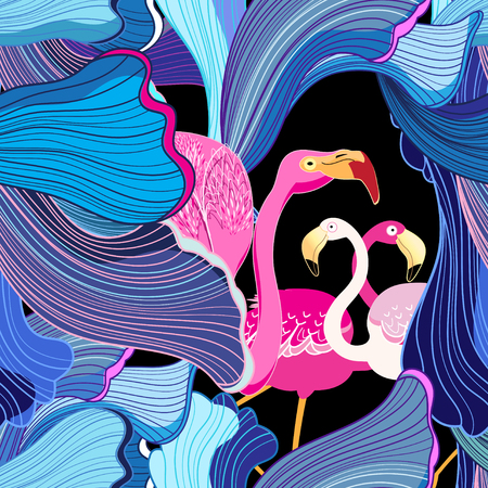 Color vector abstract pattern with pink flamingo. Illustration