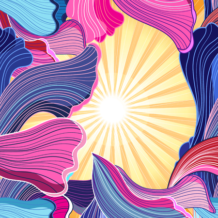 Abstract fantasy background with glowing sun