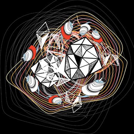 抽象的な幾何学的な要素を持つ幻想的な背景  イラスト・ベクター素材