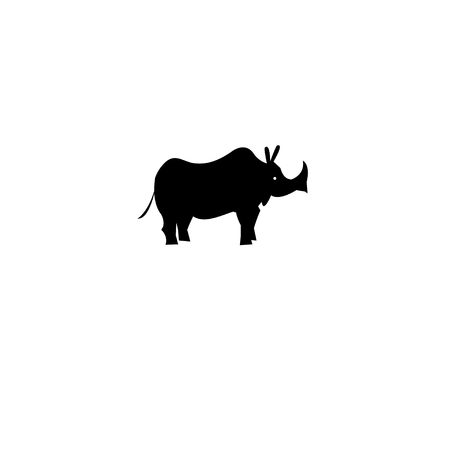 Icon of a rhino on a white Banco de Imagens - 83993754