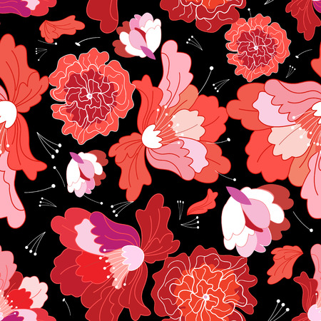 A Seamless beautiful bright vector summer floral pattern illustration. Illustration