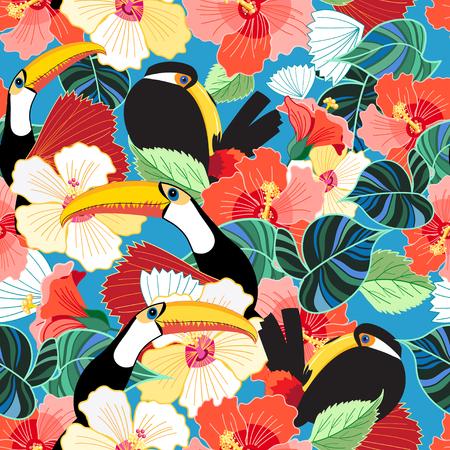 空の上の花の中でオオハシの明るい熱帯シームレス パターン。