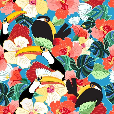 Bright tropical seamless pattern of toucans among flowers on the sky.