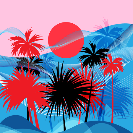 Vector graphics tropical landscape with palm trees and sun.