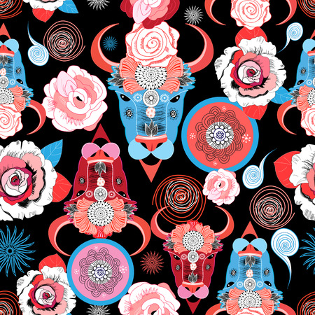 Beautiful vector pattern of portraits of bulls on a dark background with roses
