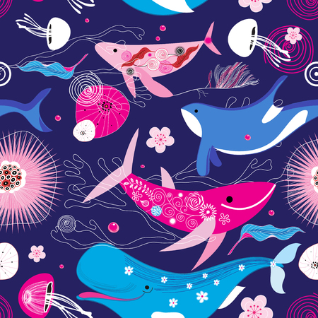 Vibrant vector pattern of different whales on a blue background with flowers