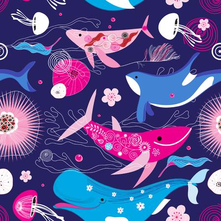 Vibrant Vektor-Muster von verschiedenen Walen auf einem blauen Hintergrund mit Blumen Standard-Bild - 84274997