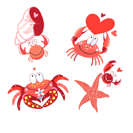 Set of vector in love with red crabs on white background