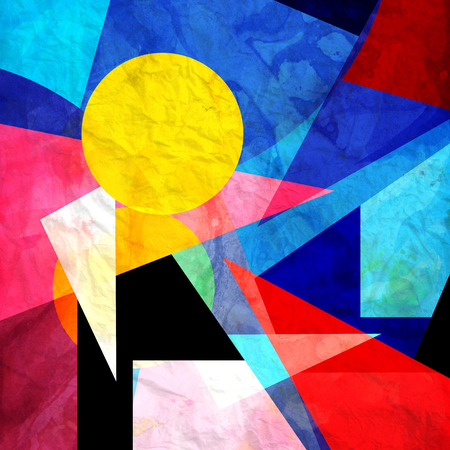 さまざまな幾何学的要素と抽象的なカラフルな水彩背景