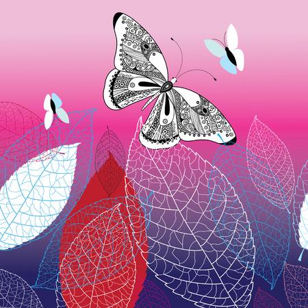 Fondo de vector con hermosas mariposas y hojas sobre un fondo coloreado Foto de archivo - 84434932