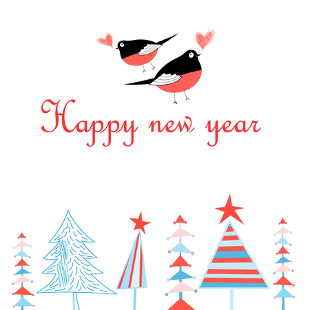 Bright New Year greeting card with in love with bullfinches and new year tree on a white background