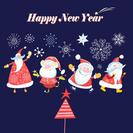 Bright winter card with dancing Santa Clause on a blue background with snowflakes