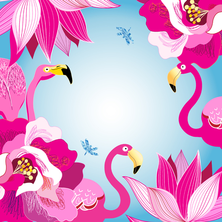 Floral colorful background with flamingos on a light background
