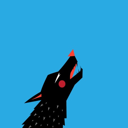 Graphic with silhouette portrait of a black wolf on a blue background