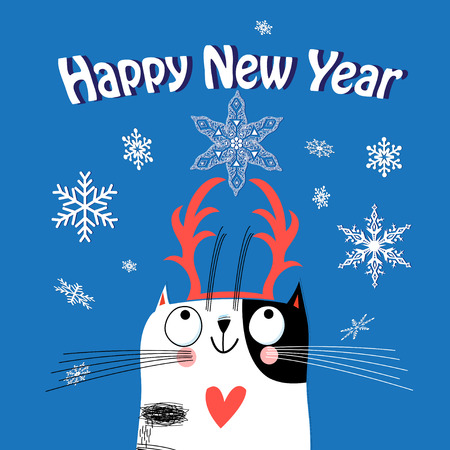 Greeting card Christmas with a funny cat on a blue background with snowflakes