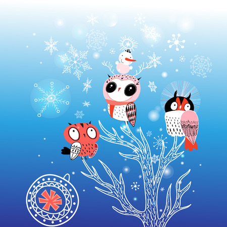 Greeting card Christmas with funny owls on a blue background with snowflakes