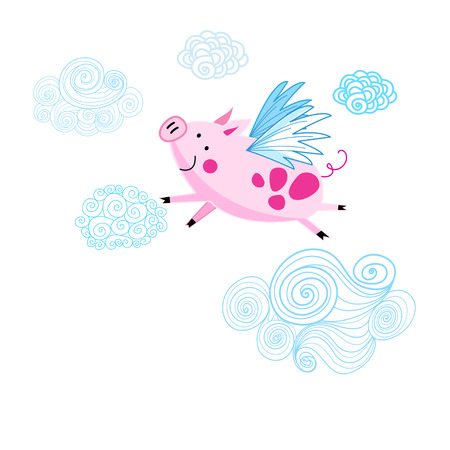 Funny vector drawing of a pink piggy on a white background