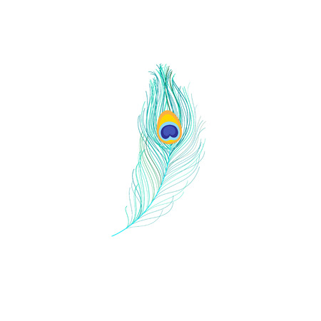 Vector icon of peacock feather on white background Иллюстрация