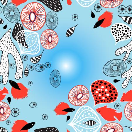 魚と抽象的な明るい美しい海の背景