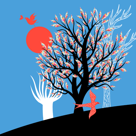 Bright illustration with trees and enamored birds