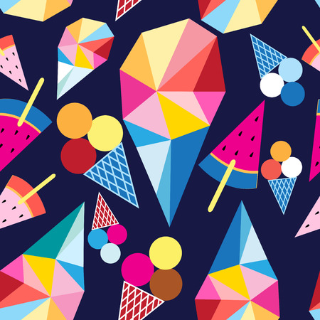 Graphic pattern of different ice cream on a blue background