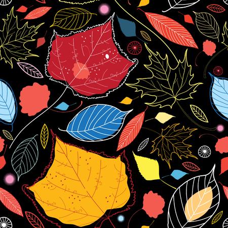 秋のシームレスなパターンは、暗い背景に別葉します。
