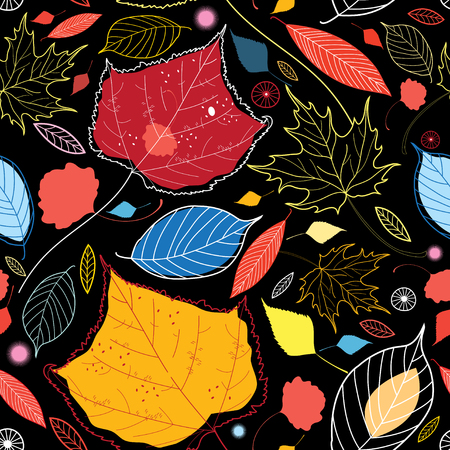 Seamless autumn pattern leaves different on a dark background