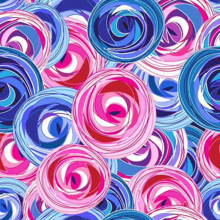 Multi-colored summer pattern different roses on a dark background