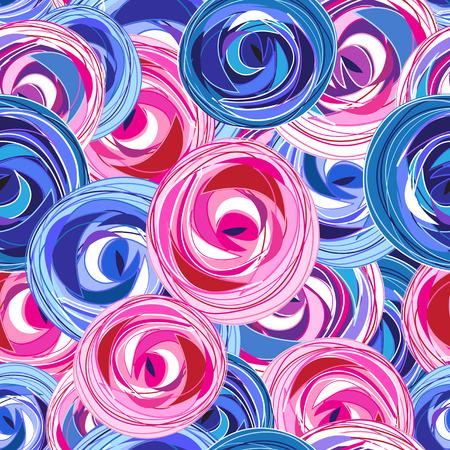 Multi-gekleurde zomer patroon verschillende rozen op een donkere achtergrond