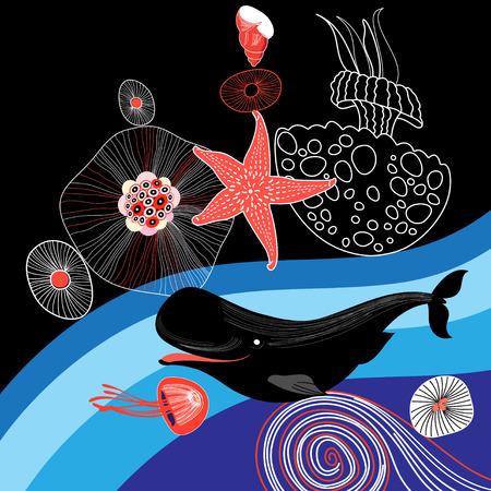 그래픽 바다 배경 고래와 불가사리