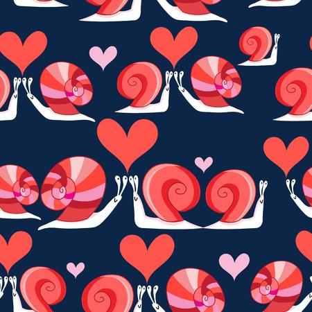Nahtloses helles Muster von liebevollen Schnecken mit Herzen auf einem dunklen Hintergrund