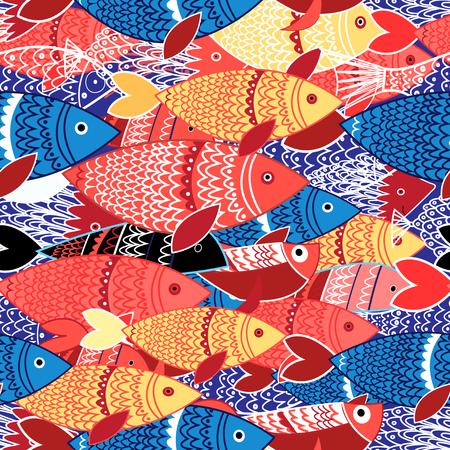 Seamless de poissons colorés lumineux sur bleu Banque d'images - 85246755