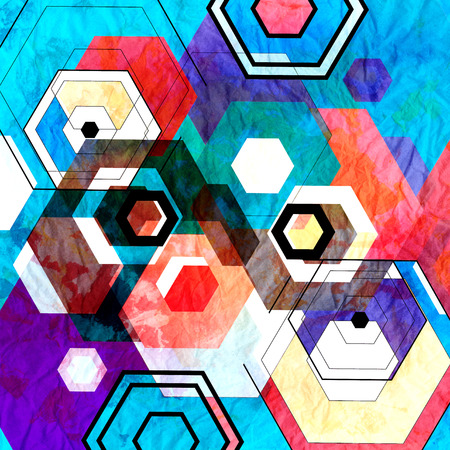 Watercolor geometric retro background with different rhombuses Banco de Imagens