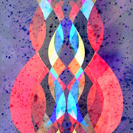 Fondo abstracto acuarela brillante con diferentes elementos de onda de colores Foto de archivo