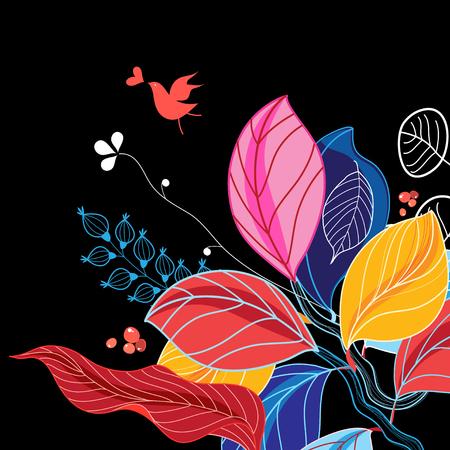 秋の背景に複数の色の葉、鳥