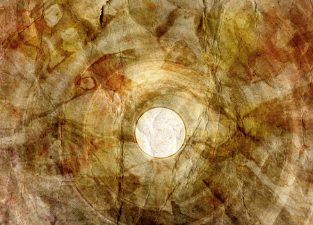 Retro brown watercolor crumpled paper background with circle