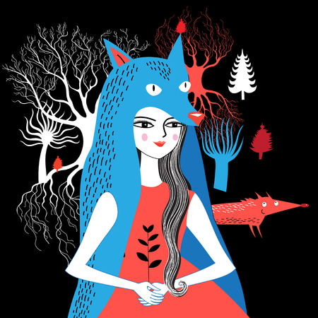 Fabulous graphic portrait of the Wolf girl