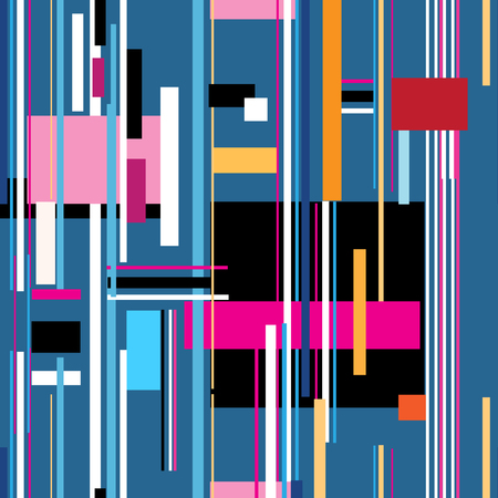 Geometric multicolored pattern from different stripes and rectangles Illustration