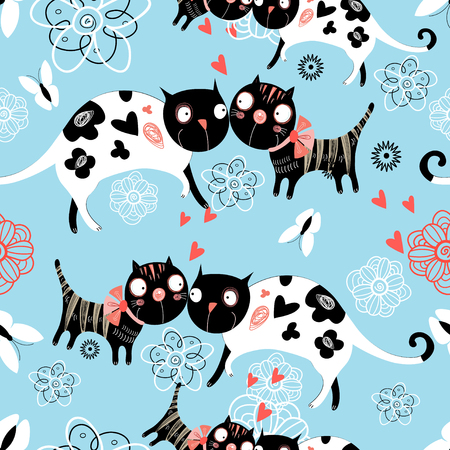 Seamless graphic pattern of enamored cats and butterflies