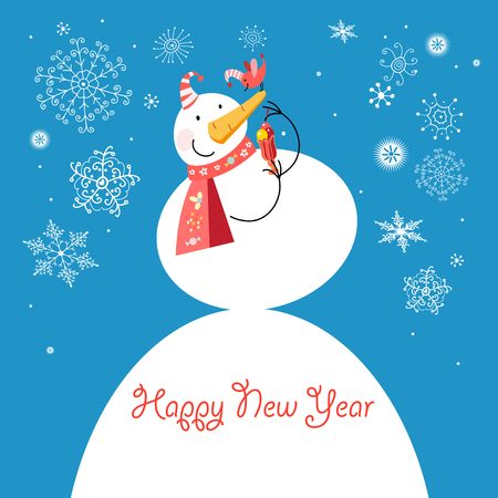 Bright funny snowman with a bird on a blue background with snowflakes