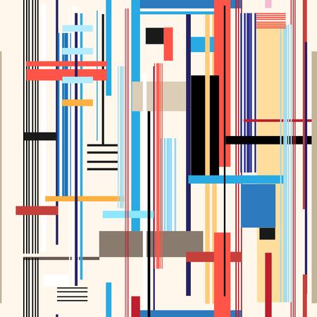 異なるストライプと長方形からの幾何学的な多色パターン
