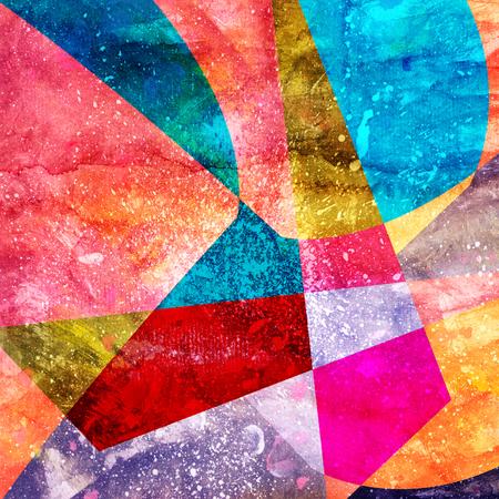 抽象的な幾何学的な要素の様々 な面白い水彩背景