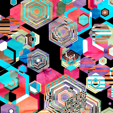 Seamless bright graphic pattern from different diamonds Stock Photo - 87394296