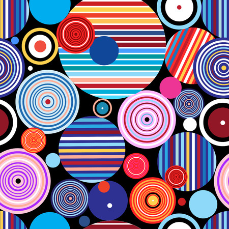 Seamless graphic pattern of geometric circular design elements Çizim