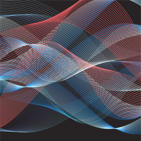Abstract colorful pattern of wavy lines on a dark background Çizim