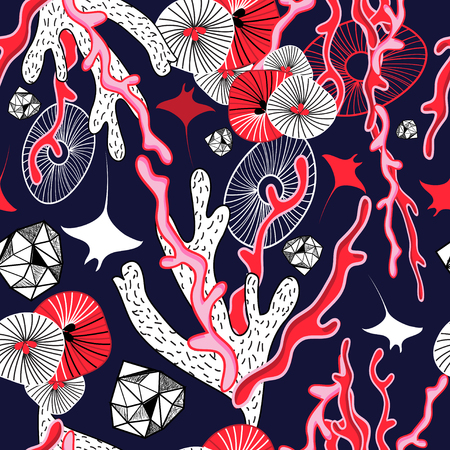 Abstract marine pattern design coral and rays