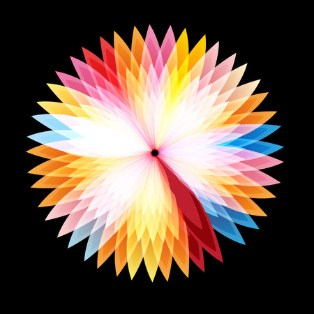 Bright graphics abstract colorful glowing flower on a dark background