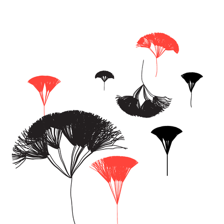 Background with graphic trees on white black and red